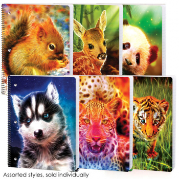 Neon Wild Wide Ruled Theme Book Assorted Electric Wildlife Design
