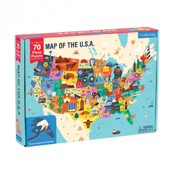 Map of the U.S.A Shaped Puzzle Pieces (70 Piece Set)