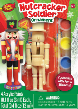 Mini Nutcracker Soldier Wood Ornament & Paint Kit