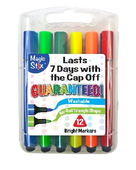 Magic Tri Stix Washable Markers - Set of 12