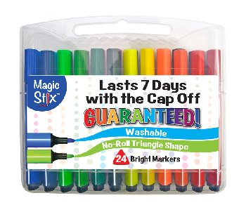 Magic Stix Triangle Shape Tip Washable Markers - Set of 24