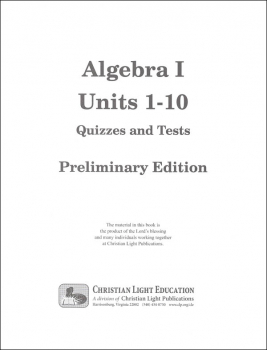 Algebra I Quizzes & Tests Packet Sunrise Edition, Preliminary