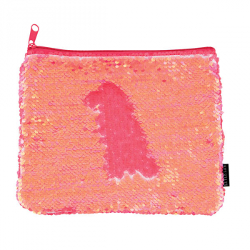 Coral Iridescent / Matte Magic Sequin Zip Pouch
