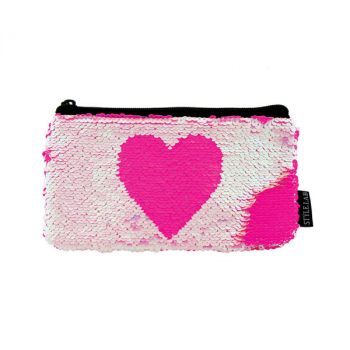 Iridescent / Bright Pink Heart Magic Sequin Mini Pencil Pouch