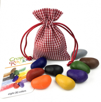 Crayon Rocks - 8 Colors in Red Gingham Bag