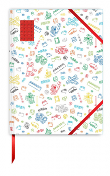 LEGO White Sketchbook with Red Brick
