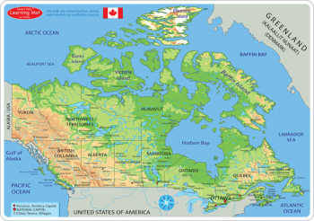 Canadian Map Physical Smart Poly Learning Mat