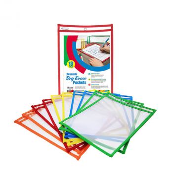 Reusable Dry Erase Pockets Primary Color (10/Pack)