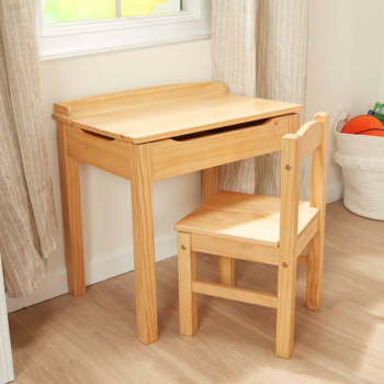 Lift-Top Desk & Chair - Honey