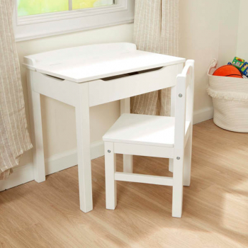 Lift-Top Desk & Chair - White