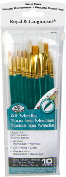 Gold Taklon & Natural Bristle Artist Brush Set (10 piece)