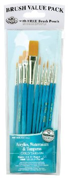 Gold Taklon Brush Set Value Pack (10 piece)