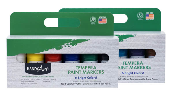 Tempera Primary & Secondary Colors Paint Markers Set of 12 (2 oz)