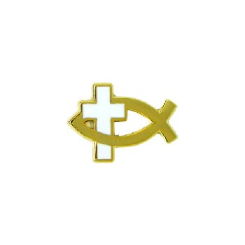 Fish Symbol - White Cross Pin