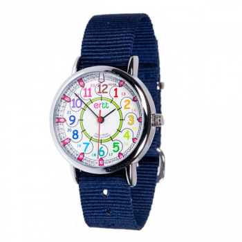 EasyRead 24 Hour Watch - Rainbow Face, Navy Blue Strap