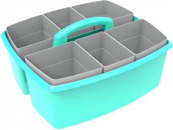Large Teal Caddy with Gray Cups