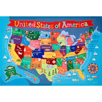 "Kid's United States Wall Map 24"" x 36"""