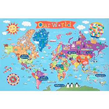 "Kid's World Wall Map 24""x 36"""