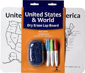World / USA Dry Erase Activity Lap Board