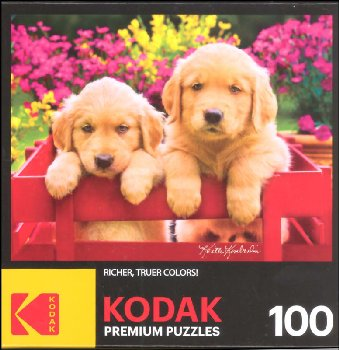 Kodak Golden Retriever Puppies in a Red Wagon Puzzle (100 piece)