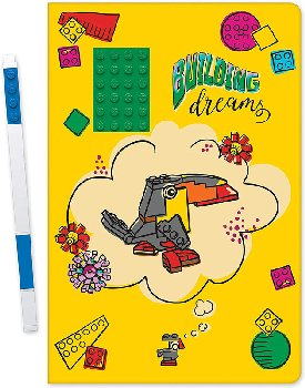 LEGO Building Dreams Notebook with Green 4x6 Embedded Brick & Blue Gel Pen