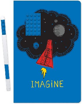 LEGO Imagine Notebook with Blue 4x6 Embedded Brick & Blue Gel Pen