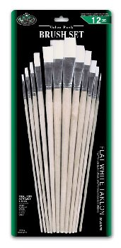 Flat White Taklon Brush Set (12 piece)