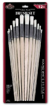 Round White Bristle Brush Set (12 piece)