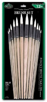 Round White Taklon Brush Set (12 piece)