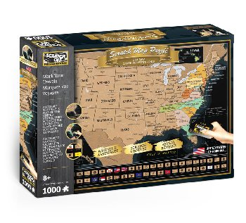 Scratch Off Travel Puzzle: USA Map (1000 piece)