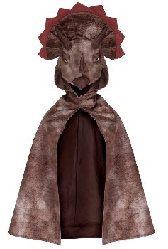 Triceratops Hooded Cape: Brown, size 4-5