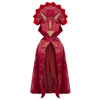 Triceratops Hooded Cape: Red, size 4-5