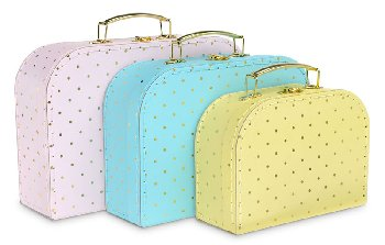 Gold Dots - Set of 3 Suitcases