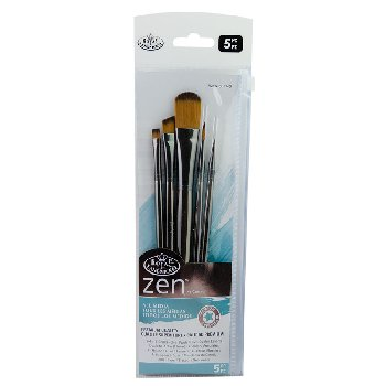 Zen SH Oval Wash Variety Paint Brush Set (5 piece)