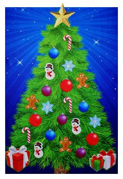 Starry Night Felt Christmas Tree with Decorative Pieces