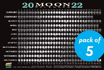 2022 Moon Calendar Card - Pack of 5