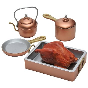 "Copper-ware Pot & Pan Set, Accessories For 18"" Dolls"
