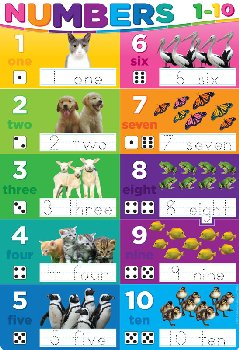 Numbers 1-10 Smart Poly Wipe-Off Chart