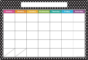 Polka Dots Calendar Smart Poly Wipe-Off Chart