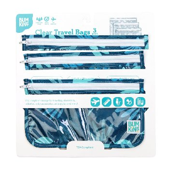 Clear Travel Bag 3 Pack (Blue Tropic)