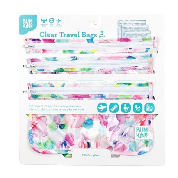 Clear Travel Bag 3 Pack (Watercolor)