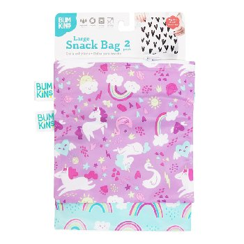 Reusable Snack Bag - Large (2 Pack) (Rainbows/Unicorns)