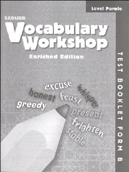 Vocabulary Workshop Enriched Test Booklet Form B Grade 2 (purple)