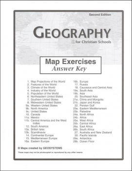 Geography Map Exercises Answer Key