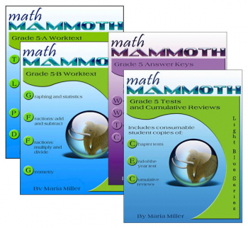 Math Mammoth Light Blue Series Grade 5 Colored Package