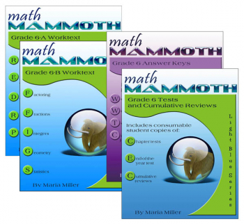 Math Mammoth Light Blue Series Grade 6 Colored Package