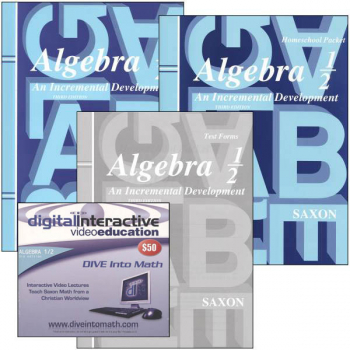 Algebra ½ 3rd Edition Saxon Home Study Kit plus DIVE CD-ROM