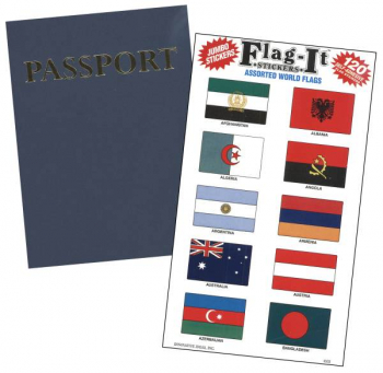 Passport Book and World Flag Stickers